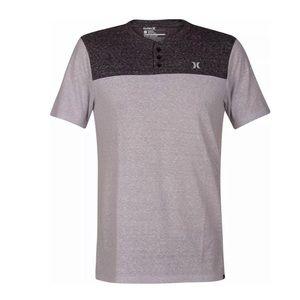 Hurley Catalina Henley Charcoal Black T Shirt Sz S
